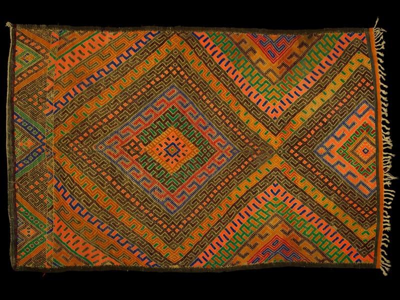 Berber Marmoucha wool palm fiber mat
