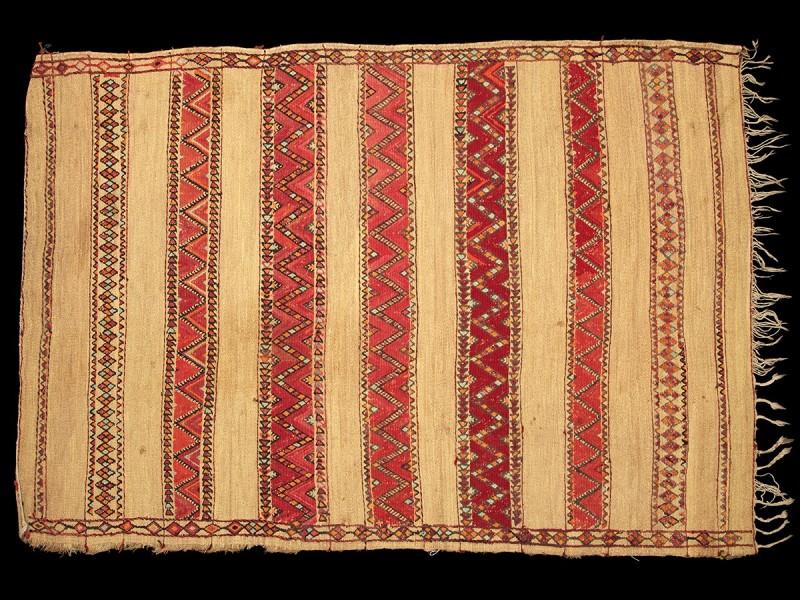 Estera bereber vintage fibra de palma y lana