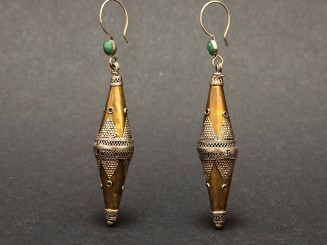 Old gilded silver and turquoise Afghan earrings