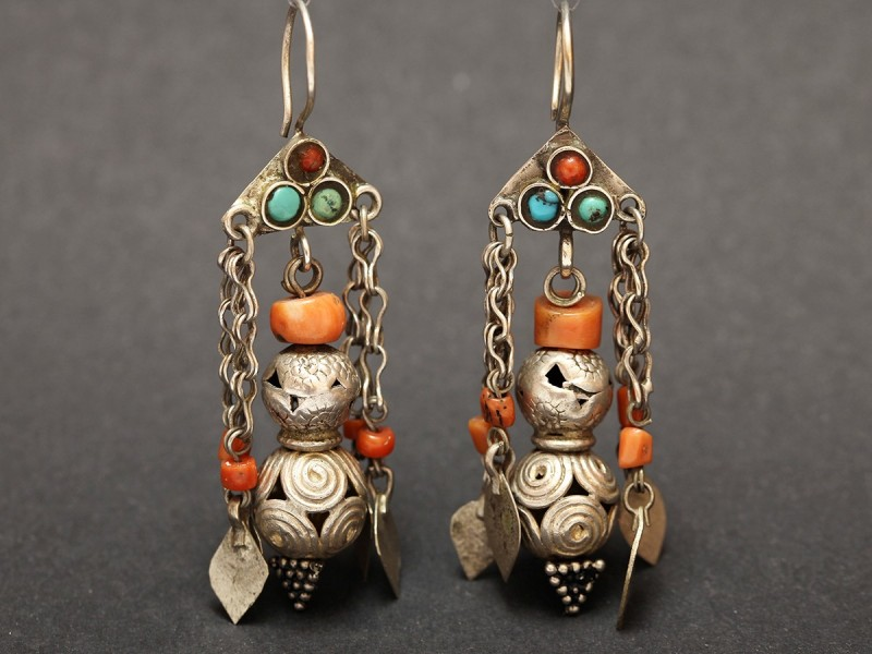 Old silver and coral Afghan earrings