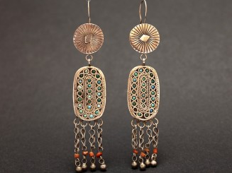 Old silver,turquoise and coral earrings