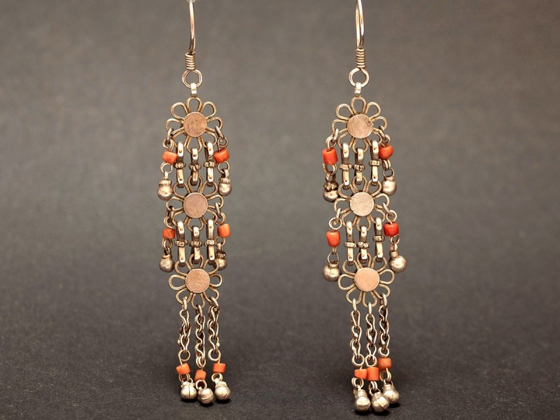 Afghan old silver and coral earrings