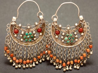 Old silver turquoise and coral earrings